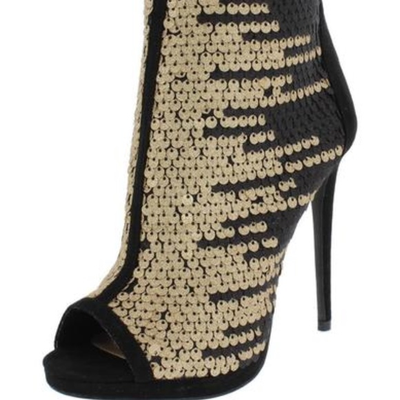 78285a53fa9 New Peep Toe Black Heel with Gold Sequin Booties